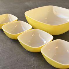 Vintage Pyrex Hostess Set Yellow Square Bowls. $55.00, via Etsy.