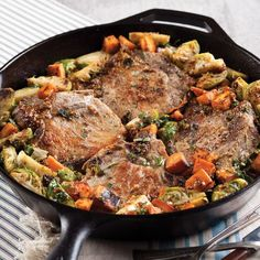 Roasted Pork Chops with Brussels Sprouts and Sweet Potatoes - Taste of the South Magazine