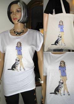 ALICE BRANDS diseños únicos raza del perro en Tops de las mujeres de calidad fabulosos, camisetas y ahora en las bolsas de asas también. Alice con alsaciano / pastor alemán muestra. etsy.com/uk/shop/AliceBrands ... Vea nuestra gama completa en www.alicebrands.co.uk