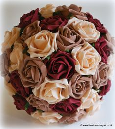 Wedding flowers - autumnal toned brides bouquet of roses burgundy theme wedding flowers - a special order bouquet for bride to be Claire who requested a collection of bridal flowers in burgundy, champagne and mocha roses Champagne Wedding Flowers, Diy Wedding Flowers, Fall Wedding Colors, Bridal Flowers, Wedding Ideas, Wedding Pics, Budget Wedding, Wedding Dresses, Champagne Centerpiece