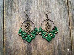 Big gypsy leaf earrings Customized bohemian jewelry by Mariposa