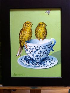 Yellowhammers at tea time Tea Time, Painting, Art, Art Background, Painting Art, Kunst, Paintings, Performing Arts, Painted Canvas