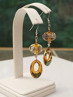 Lampwork Glass Earrings Swarovski crystals sterling silver SRAJD Quinlan Glass topaz crystal copper