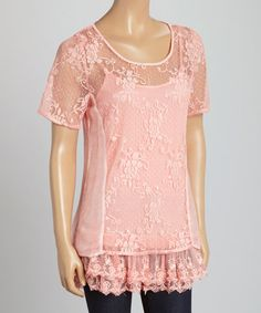 Peach Lace Scoop Neck Top by Vintage Concept #zulily #zulilyfinds