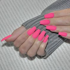 Bright neon pink nails