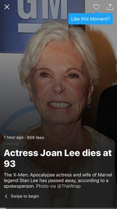 RIP, Joan Lee.  Normally I'm thrilled to put stuff into my marvel place.. But this deserves to go here. REST IN PEACE
