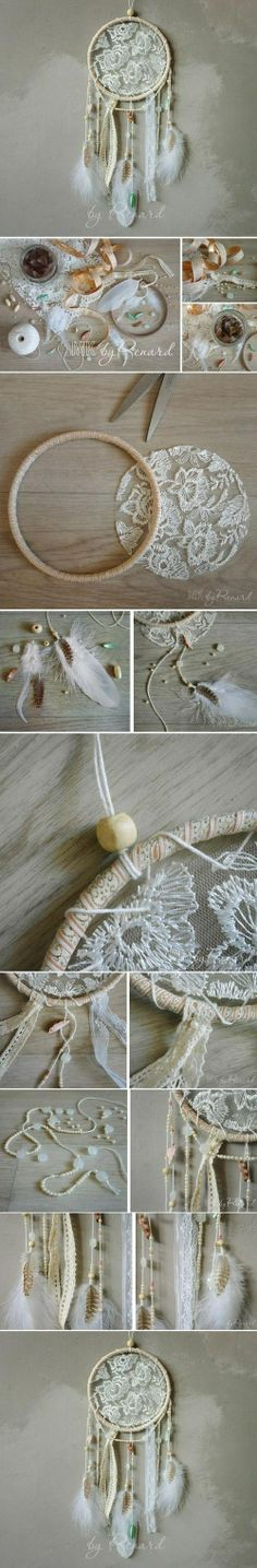 Lace dream catcher DIY Tutorial How-To. Not really a dream catcher person usually but this is really pretty. Cute Crafts, Crafts To Do, Arts And Crafts, Easy Crafts, Easy Diy, Diy Projects To Try, Craft Projects, Lace Dream Catchers, Creation Deco
