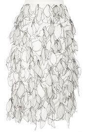 Emme appliquéd silk-organza pencil skirt