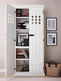 Transform a bookcase into a Country Cupboard with a pair of pretty shutters. After sanding, priming, and painting the pieces, hang the shutters on the bookcase with cabinetry hinges. Top it off with a forge-iron shutter bolt to secure the doors closed. Furniture Projects, Home Projects, Diy Furniture, Furniture Plans, Furniture Chairs, Garden Furniture, Bedroom Furniture, Bedroom Bookcase, System Furniture