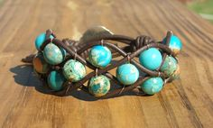 Woven Leather bracelet cuff with Serpentine jasper