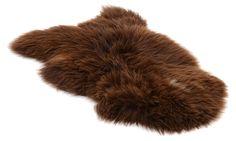 Lammskinn - rusty brungrå långhårigt