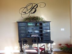 Stunning Script Monogram Wall Decal Wall Transfer www.touchofbeautydesigns.com