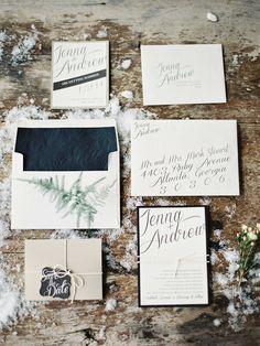 Winter wedding invitation set | Photography: Laura Leslie Photography - www.lauralesliephotography.com Photography: Gracie Blue Photography - www.grblue.com  Read More: http://www.stylemepretty.com/2014/04/24/enchanted-winter-wedding-inspiration/