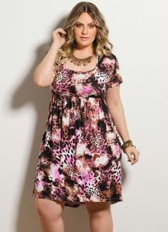 Vestido Manga Curta Mix Animal Print Plus Size