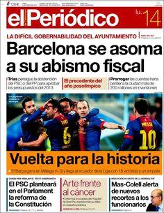 Los Titulares y Portadas de Noticias Destacadas Españolas del 14 de Enero de 2013 del Diario El Periódico ¿Que le parecio esta Portada de este Diario Español?