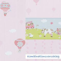 Lovely S e Tapete in Rosa mit Ballons und Tieren von P S International jetzt in unserem