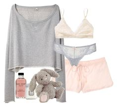 """""""Cozy Girl Night"""" by elise-olivia ❤ liked on Polyvore featuring Juicy Couture, R13, Bobbi Brown Cosmetics, Laura Mercier, Jellycat, Talula and Eberjey"""