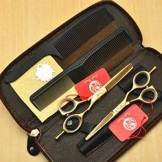 4Pcs Set 5.5'' 16cm Purple Dragon Gold 440C Professional Human Hair Scissors Hairdressing Cutting Shears Thinning Scissors Z1014