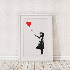 banksy balloon girl framed print by the binary box | notonthehighstreet.com