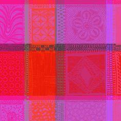 Serviette de table Garnier-Thiebaut - Modèle : Mille wax - Serviette de table en coton - Coloris : orange et rose