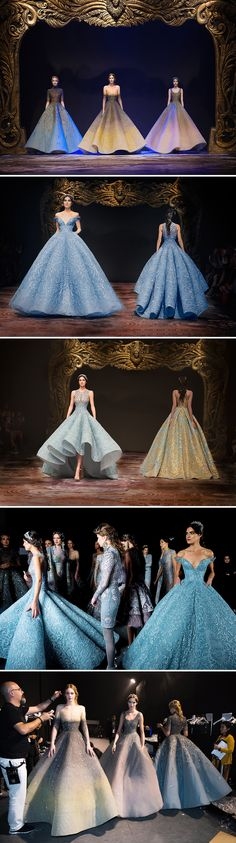 Michael Cinco's Fall/Winter 2017 couture collection tells the story of Versailles, France's most famous and grand baroque palace, through shades of gold, blue and green, and floral embroidery, reminiscent of the château's gardens and palace's courtiers in all their crystal-covered finery.