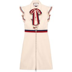 Gucci Sylvie Web Stretch Jersey Dress (€1.650) ❤ liked on Polyvore featuring dresses, flouncy dress, frilly dresses, stretchy dresses, ruffle sleeve dress and ruffle dress