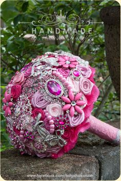 Hot Pink, Pink and Fuchsia Wedding Brooch Bouquet . Deposit on a made to order. Heirloom Bridal Broach Bouquet.