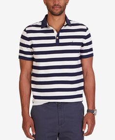 6d67bfee921 Nautica Men's Classic Fit Voyager Waffle-Knit Stripe Polo & Reviews - Polos  - Men - Macy's