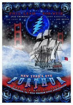 Original silkscreen concert poster for Furthur at Bill Graham Civic Center in San Francisco, CA in 2009.