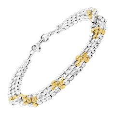 "Three strands of petite sterling silver beads are patterned with sections of 18K gold-plated sterling silver beads for a delicate two-tone look. Bracelet measures 7 1/2 inches in length and features a spring ring clasp. Piece comes with a "".925"" sterling silver quality stamp as a symbol of guaranteed product quality."