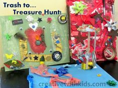 Treasure Hunt Pictures- Good recycle craft for Earth Day.