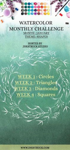 Here's presenting 2018 January watercolor prompts which will help improve your skill. What's more? You can win a lovely prize as well. - Inkstruck Studio