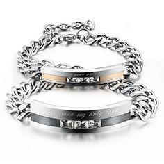 Men,Women's 2 PCS Stainless Steel Bracelet Link Wrist CZ Black Silver - InnovatoDesign