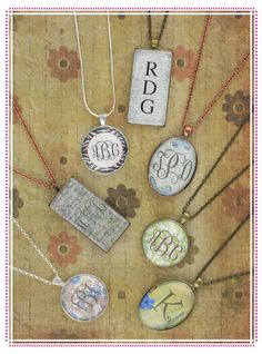 """monogrammed necklaces - """"Like"""" us on Facebook at Paperie and Gifts"""