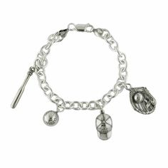 Sterling Silver Baseball Bracelet with Four Charms: Baseball, Baseball Cap, Baseball Bat, and Baseball Glove