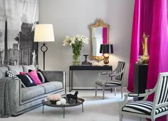 Beautiful soft grey living room with cerise accents.  -  creativeinfluences.blogspot.com