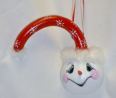 Snowman Dipper Gourd  Hand Painted Gourd Art by FromGramsHouse