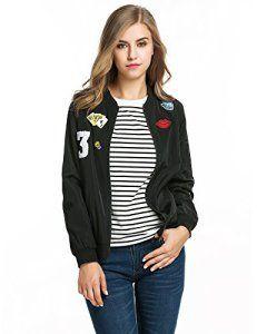 CRAVOG Mode Veste Femme Du Sport/Jacket Blouson Bomber Vélo Manteaux Manche Longue Avec Badge Poche