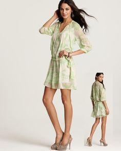 US $215 Diane Von Furstenberg DVF New Desma Baroque Mint Floral Silk Dress