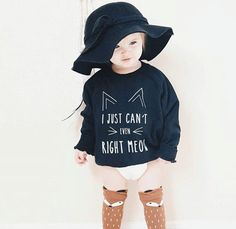 Cat Sweater, Cat Shirt, Hipster Toddler, Can't Even Right Meow, Modern Clothing… Baby Girl Fashion, Toddler Fashion, Toddler Outfits, Kids Outfits, Kids Fashion, Fashion 2015, Fall Outfits, Hipster Outfits, Modern Outfits