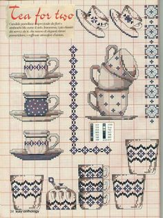 Tea for two free cross stitch patterns Cross Stitch Samplers, Cross Stitching, Cross Stitch Embroidery, Embroidery Patterns, Cross Stitch Designs, Cross Stitch Patterns, Cross Stitch Kitchen, Cross Stitch Collection, Needlework
