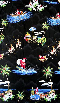 Mens Shirt XL Hawaiian Christmas Santa Pacific Legend Surf Sleigh Woody Palm | eBay $50