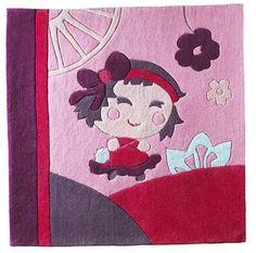 3620edac60cb3 Tapis de chambre tufté main en carré de 110x110 cm Hanaé Sauthon -  BadBouille