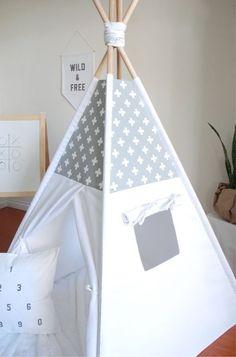 Grey and White Swiss Cross Canvas Teepee Play Tent Play Kids Tents, Teepee Kids, Teepees, Baby Bedroom, Kids Bedroom, Canvas Teepee, Home Childcare, Childrens Teepee, Teepee Play Tent