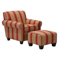 @Overstock - This striped arm chair and ottoman will brighten up your living space. The set features a crimson red stripe with shades of gold, olive green, brown, and beige. The ottoman has a firm foam cushion that is perfect as a foot rest or extra seat. http://www.overstock.com/Home-Garden/Mira-8-way-Hand-tied-Red-Arm-Chair-and-Ottoman/3406667/product.html?CID=214117 $399.99