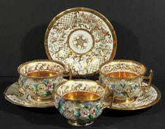 37: A GROUP OF THREE TEACUPS AND SAUCERS, Imperial Porc : Lot 37
