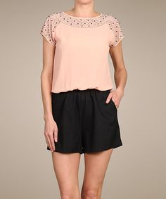 Look what I found on #zulily! Peach & Black Embellished Romper by Lovposh #zulilyfinds