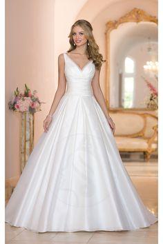 [118.99 € ] Robe de mariée trapèze sans manches col V en organza