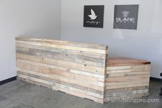 Super cool reception desk. Love the reclaimed wood & concrete floors!