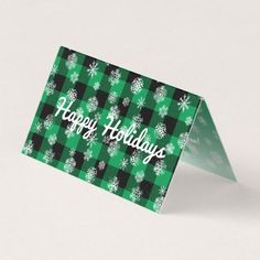 Snowflake Buffalo Plaid Green l Happy Holidays Card - holidays diy custom design cyo holiday family